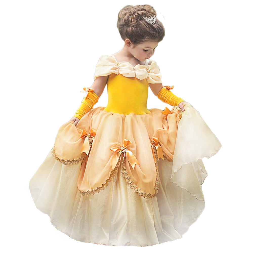 Princess Costume Halloween Party Fancy Dress Up Girls Luxury Puffy Ball Gown Cosplay Yellow Dress for Kids