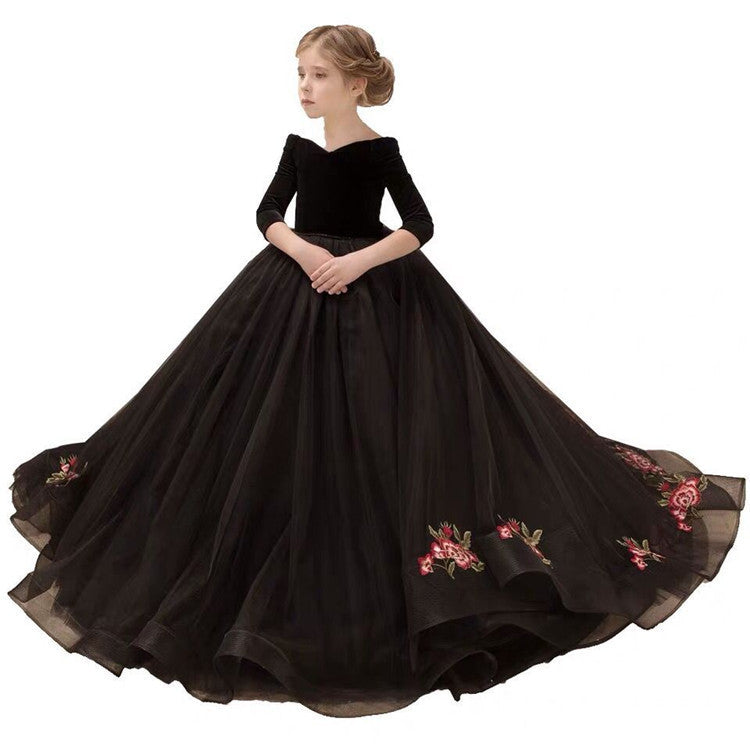 Girls Pageant Dresses Velvet and Tulle Embroidery Flower Girl Gown Off Shoulder Applique Ball Gown 3/4 Long Sleeves