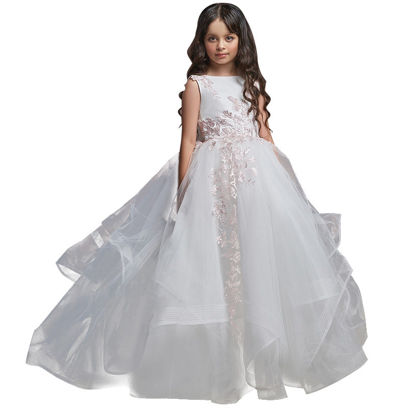Children's Communion Dress White Embroidered Cupcake Dress for Little Girls Princess Dress