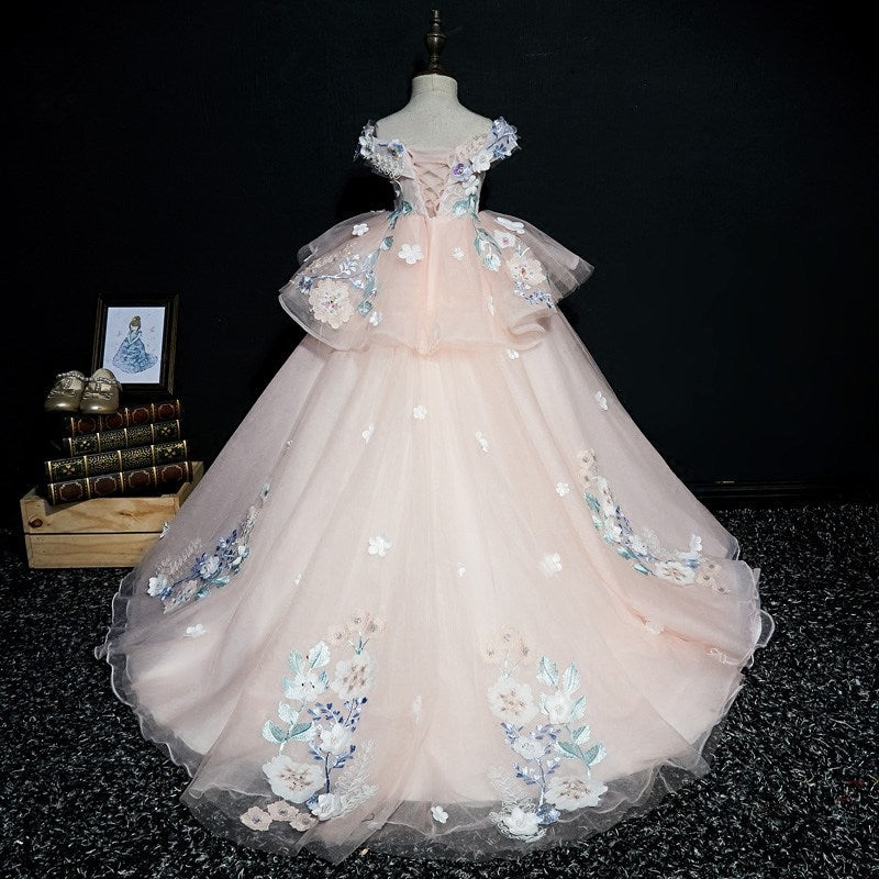 Flower Girl Embroidery Dresses Piano Performance Dresses Princess Trailing Pageant Gown