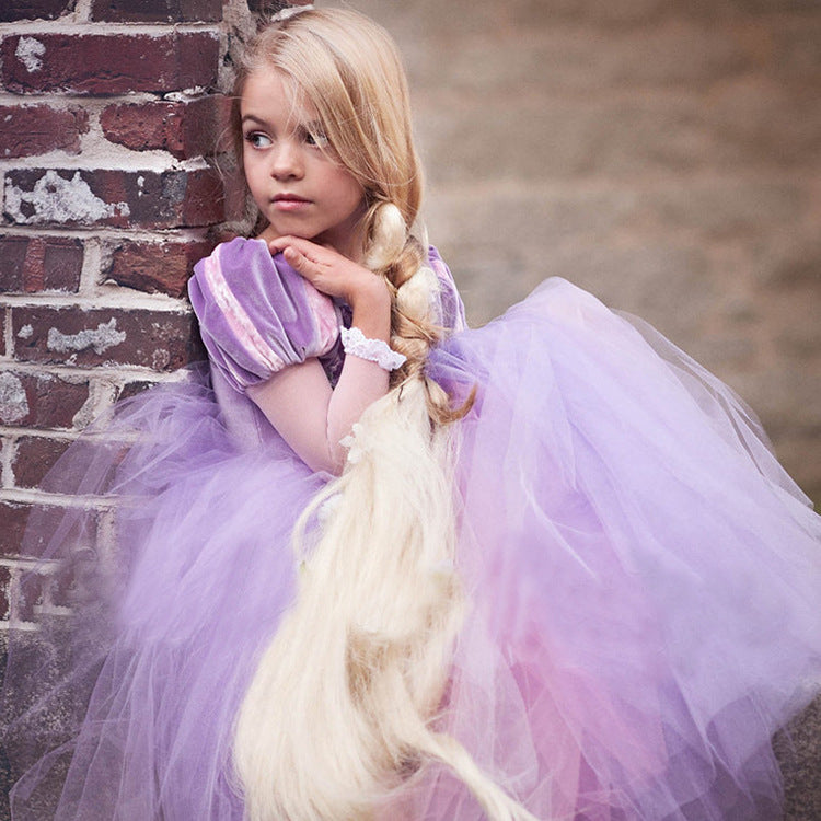 Girls Soft Tulle Dresses Princess Gown Kids' Colorful Holiday Dresses Floor Length with Garland