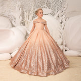Unique Mix Color Ball Gown Flower Girl Dresses  New Deminha Dress For Girls Sequins Off the Shoulder