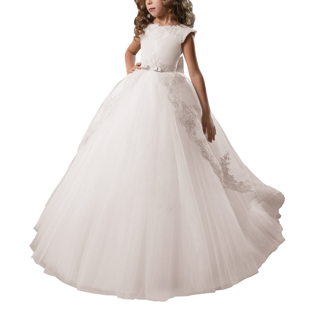 First Communion Dress Tulle Satin Lace Cap Sleeves Pageant Fancy Girls Ball Gown Princess kids Birthday Dresses Flower Girl Dress