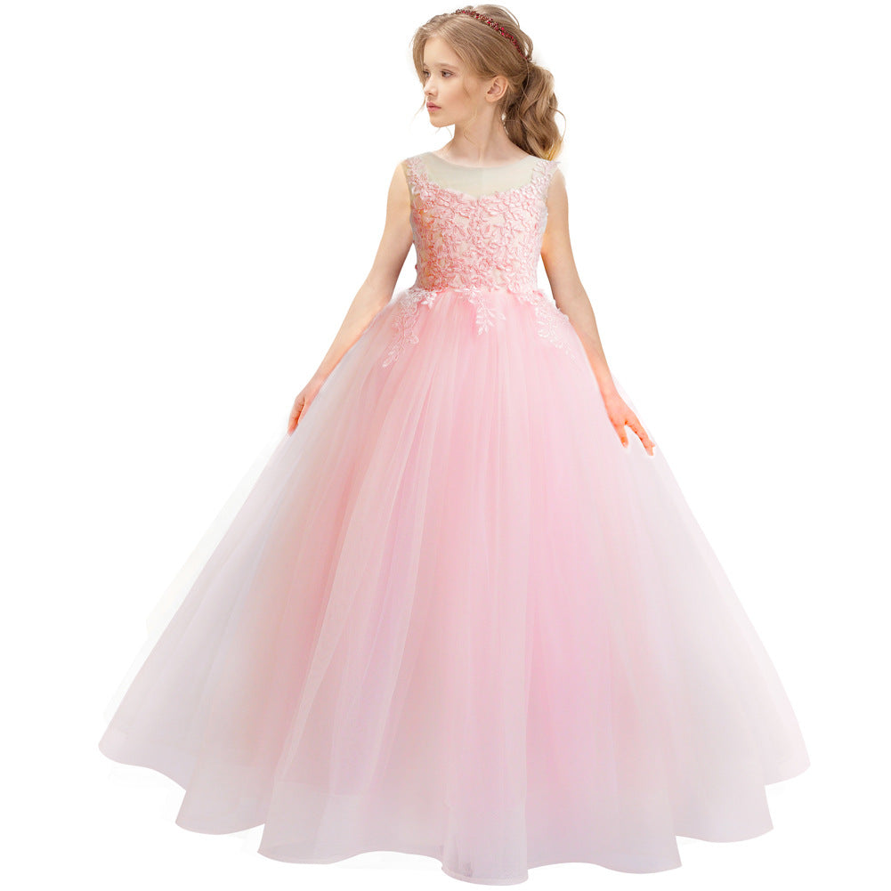 First Communion Dress Lace Applique Wedding Dress Sleeveless Tulle Bridesmaid Pageant Party Princess Cute Dance Ball Gown