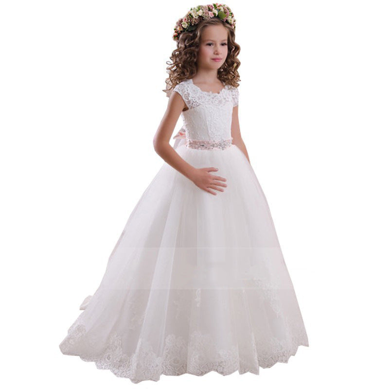 First Communion Princess Dress for Girls with Lace Round Neck Sleeveless Children Puffy Dress (pink sash detachable)