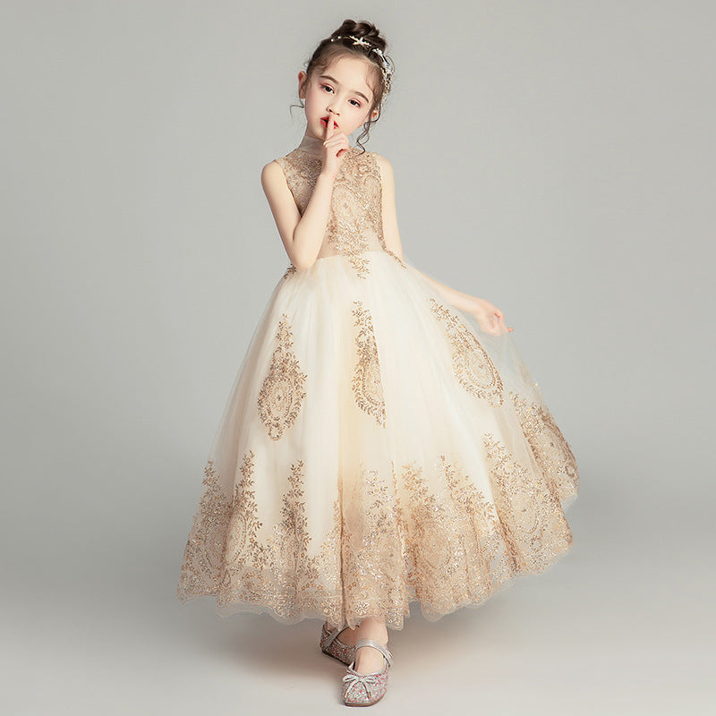 Off Shoulder Girl Wedding Dress Golden Sequin Lace Kids Party  Trailing Gowns Kids Baptism Pageant Gown Flower Girl Dresses