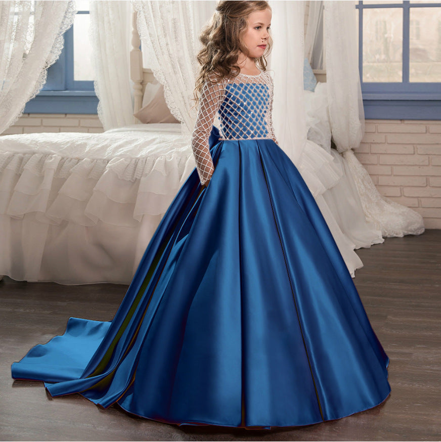 Long Sleeves Christmas Flower Girl Dress Floor Length Button Draped Tulle Ball Gowns for First Communion Pageant Birthday Party