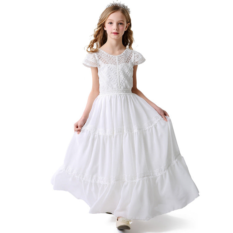 Communion Dresses for Toddler Round Necked with Strapes Flower Girl Kids Long Formal Dresses
