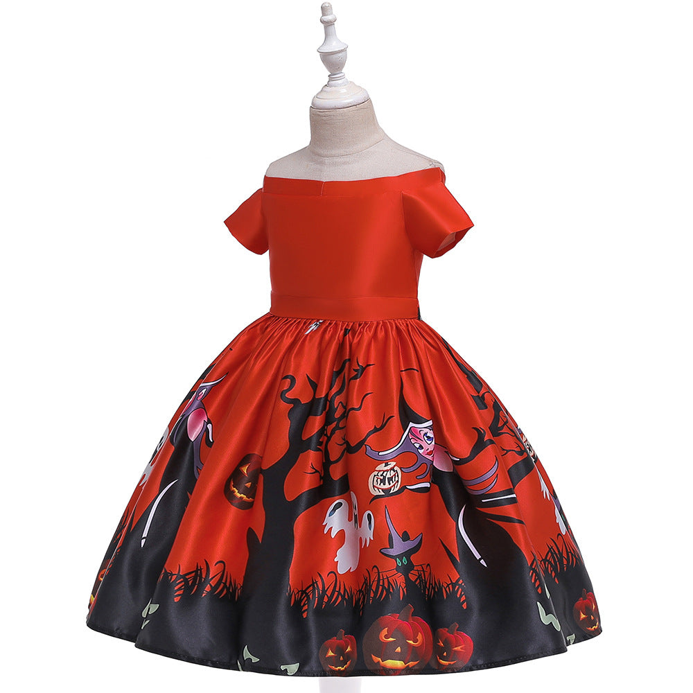 New Arrivals Children's Halloween Party Dresses Girls Costumes for Holidays Kid's Colorful Pumpkin Printed Gown