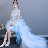 Performance Show Prom Flower Girl Wedding Dresses Kids Trailing Layered Party Princess Birthday Dress Short Blue Dress