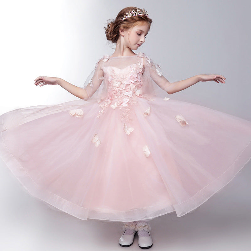 New Teen Girl Mesh Tutu Princess Dress Kids Flowers Trailing Dresses For Girls Wedding Party Baby Girl Clothes Vestido