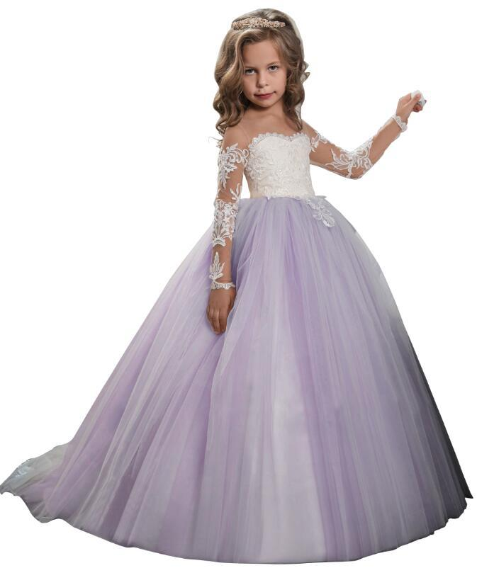 Flower Girl Dresses for Wedding Long Sleeves Lace Champagne Vintage Communion Ball Gowns Princess Dresses