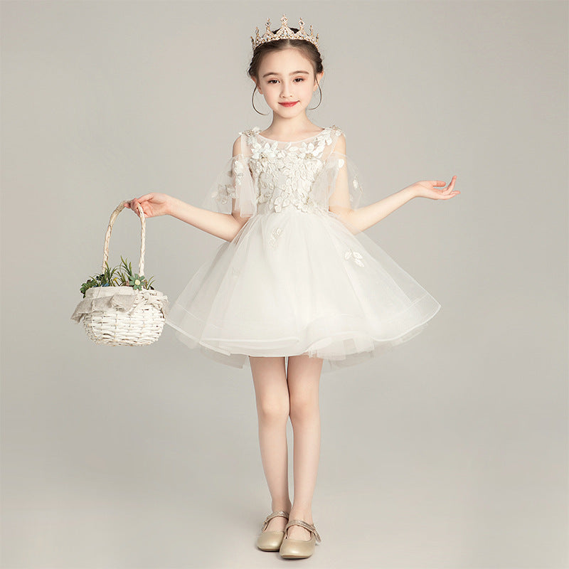 Communion Long Trailing Flower Girl Dress for Teens Princess Prom Wedding Dress Catwalk Piano Pageant Dress