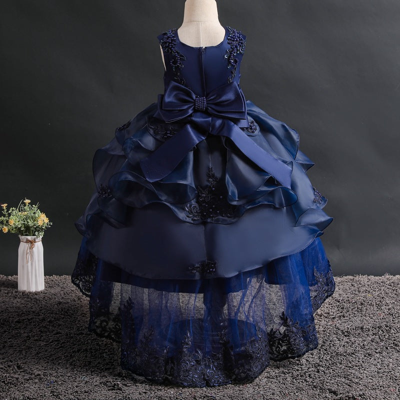 Girls Royal Blue Tiered Ruffle Gold Embroidered Dressy Holiday Dress