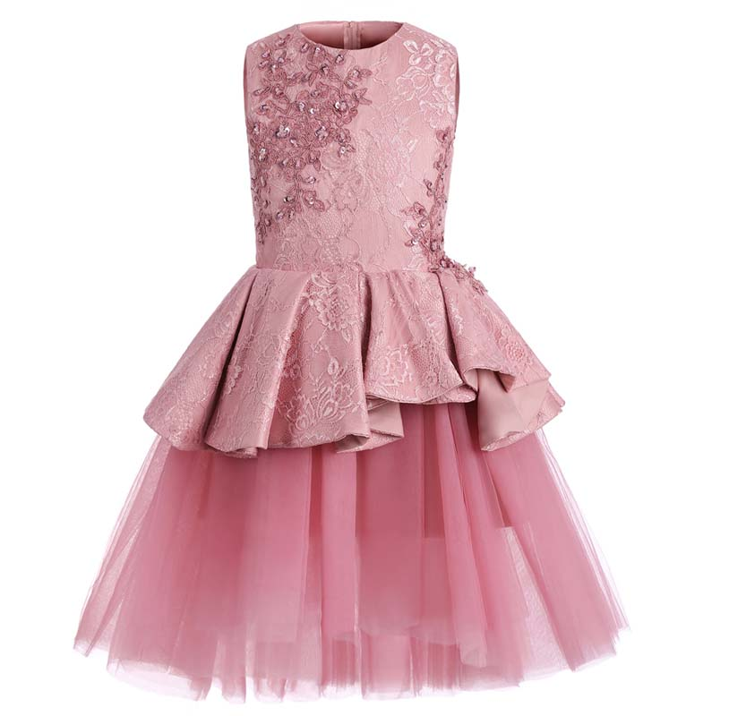 Flower Girls Dress Sequins Lace Appliques Wedding Tulle Dress Fancy Birthday Christmas Party Ball Gown