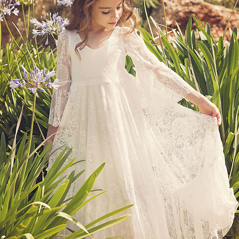 Fancy Ivory Flower Girl Dress Girls First Communion Gowns Dresses Lace Long Sleeves Lace Appliques Wedding Princess Dress