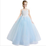 Colorful Flower Girl Dress Lace Applique Wedding Dress Sleeveless Tulle Bridesmaid Pageant Party Princess Cute Dance Ball Gown