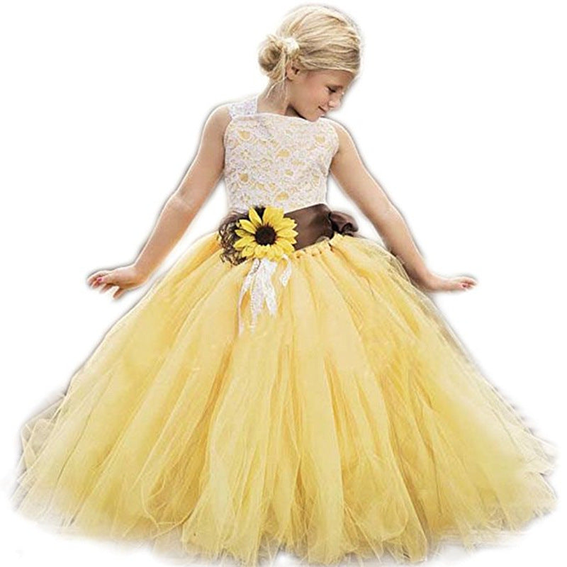 Sunflower Dress Dormal Fress Flower Girl Dress Lace Tulle Pageant Wedding Tutu Dress Romper