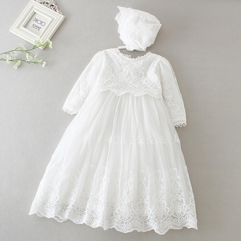 Baby Baptism Dress Long Lace Princess Newborn Baby Christening Gowns 1 Year Birthday Party Wedding Infant Baby Shower Dress with Bonnet