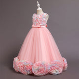Kid's Flower Girl Dress with Bow Girls Party Dresses Sleeveless Prom Dress Tulle Princess Gown