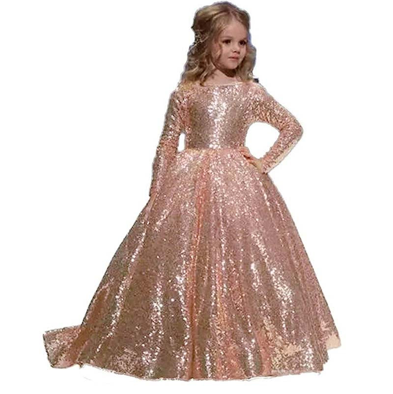 Flower Girl Dress Sequined Pageant Ball Gown Kids Long Sleeves Birthday Party Dresses Wedding Party Pageant Dress