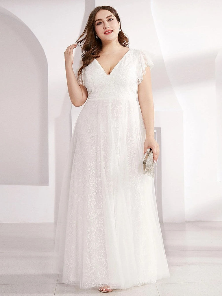 Elegant Double V-Neck Floor Length Plus Size Dresses Short Ruffle Sleeve Bridesmaid Gowns
