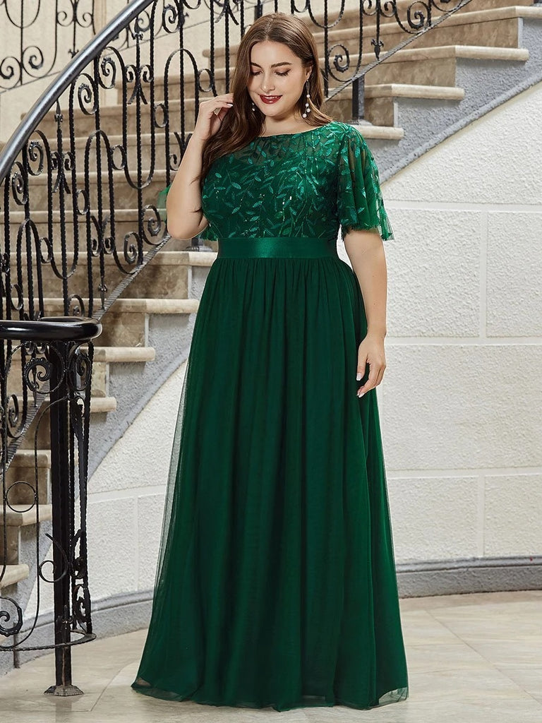 Ladies' Sequin Print Plus Size Evening Gown with Cap Sleeve Round Neck Plus Size Dresses