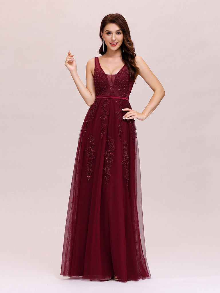 Embroidery Sheer Maternity Dress V Neck Sleeveless Long Evening Party Dresses Tulle Prom Gown