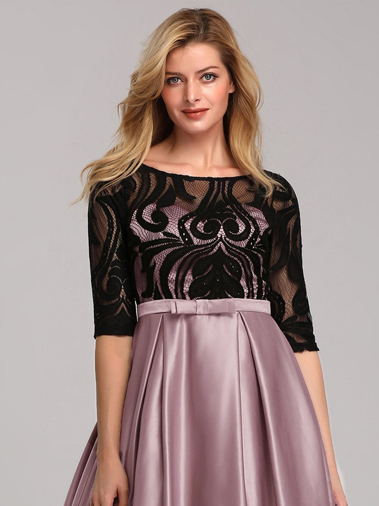 Women's Pricess Dress Lace Round Neck Formal Half Sleeves A Line Evening Dress with Bow