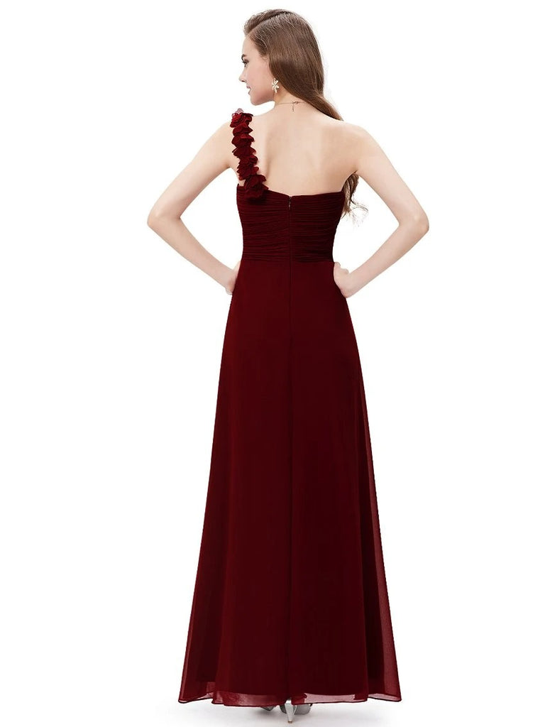 Ladies' Maxi Long One Shoulder Chiffon Bridesmaid Dresses Elegant Party Dress Formal Wear