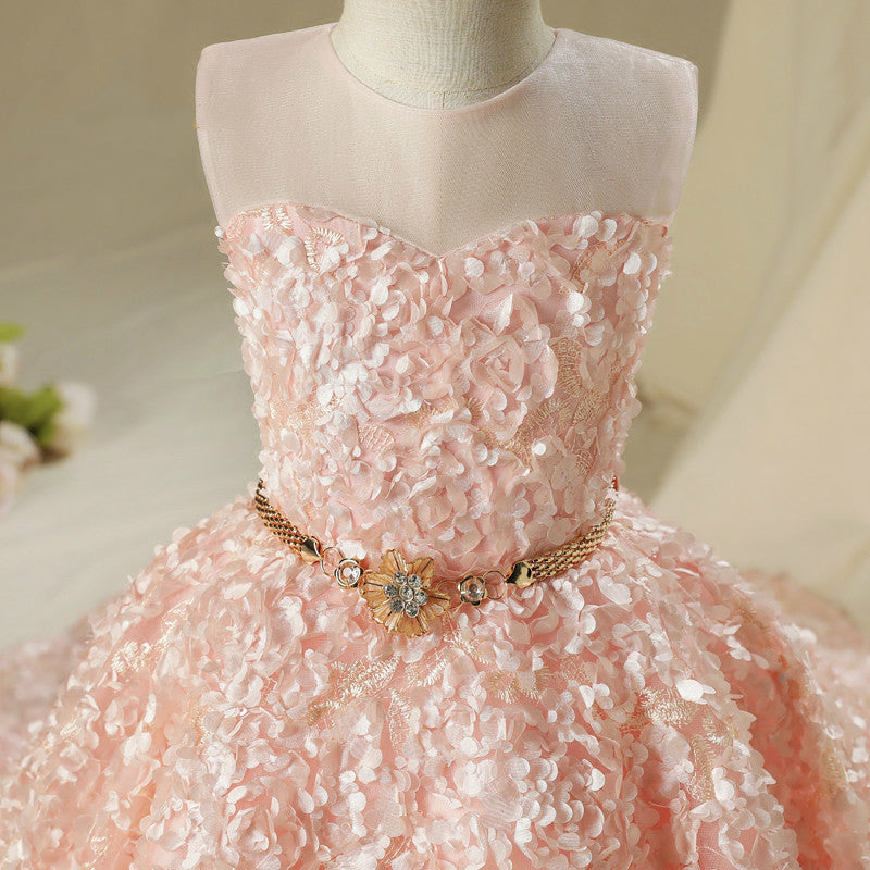 Pink Flower Girl Dress Children's Birthday Gown Long Trailing Dresses Kid's Pageant Clothing