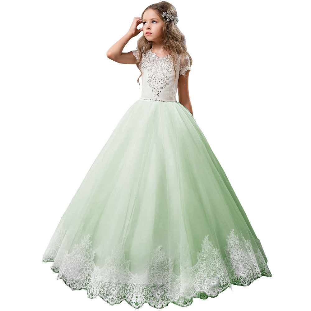 First Communion Short Sleeves Flower Girl Dress Rhinestones Pageant Gown Party Floor Length Wedding Party Dress Evening Dance Princess Tulle Dress