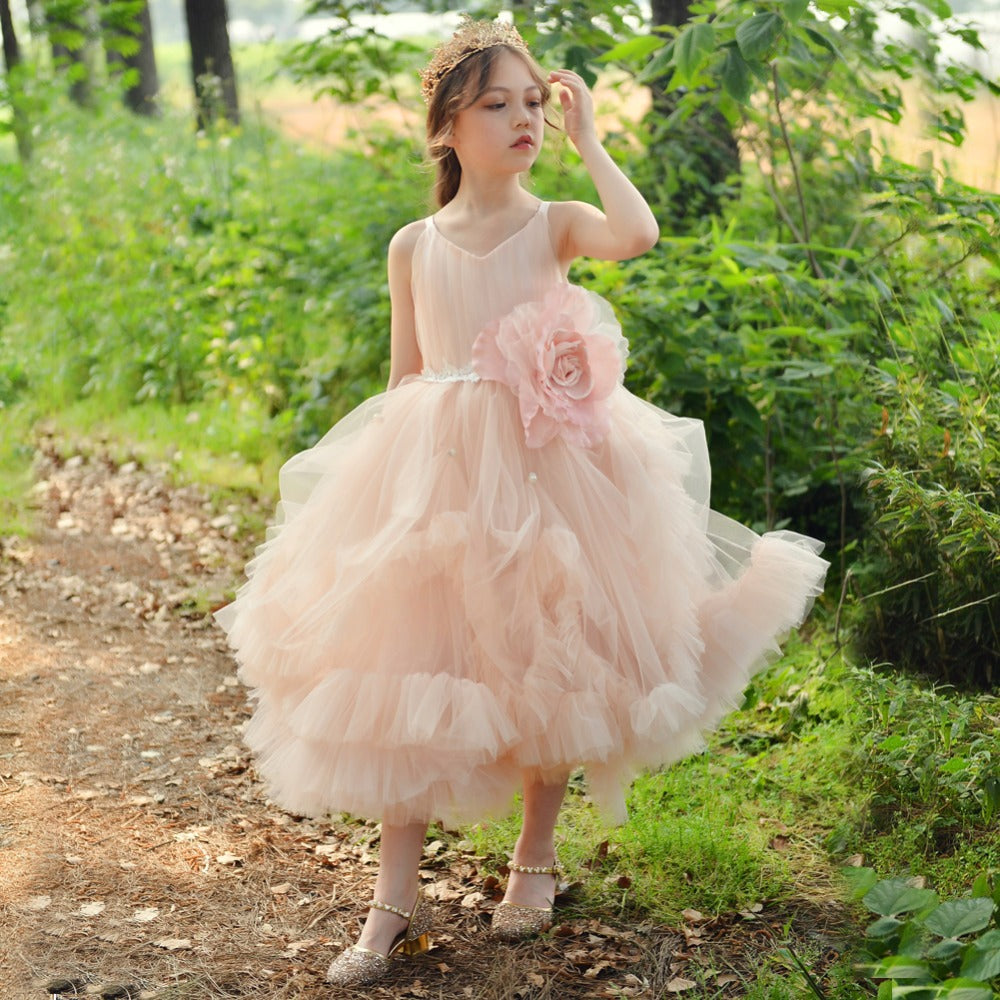 Pink Princess Ball Gowns Wedding Tutu Dresses for Girls Party Birthday Flower Girl Dresses Sleeveless Prom