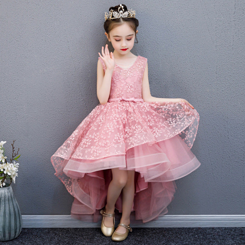 Flower Girl Dresses for Wedding Pageant Sleeveless Birthday Dress Princess Party Dresses Floral Embroidered Embellished Evening Dress Up
