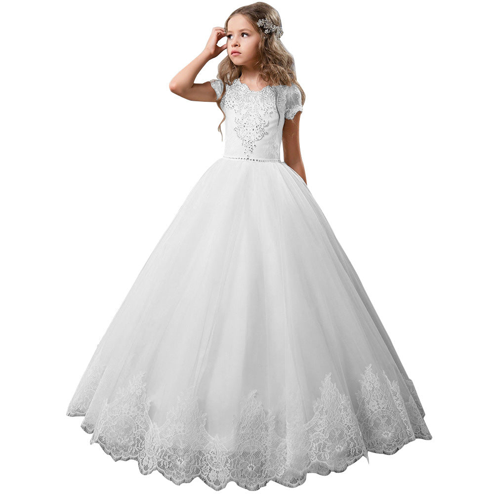 Short Sleeves Flower Girl Dress Rhinestones Pageant Gown Party Floor Length Wedding Party Dress Evening Dance Princess Tulle Dress