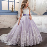 Communion Dress Kid Lace Tulle Dance Pageant Sleeveless princess dress Ball Gown with Bow birthday dresses Flower Girls Dress for Wedding