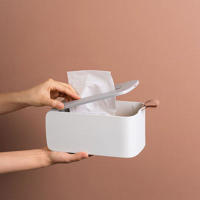 White Été Tissue Holder Box with removable lid for refill