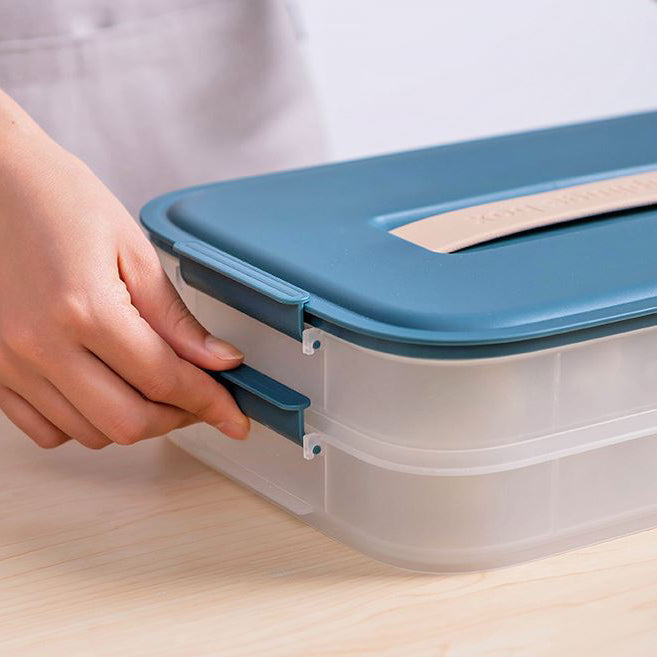 dual layer bijou dumpling box container with lock