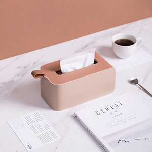 Minimalist pink tissue box holder for home or office