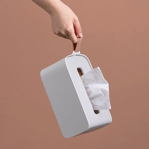 White  tissue box holder with side handle