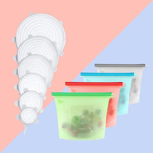 6 pcs Silicone Stretch Lids and Silicone Food Bag in 4 colours