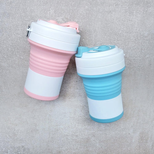 Paradise Silicone Collapsible Cup in pink and blue