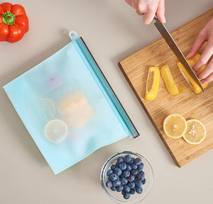 Blue Silicone Food Storage Bag