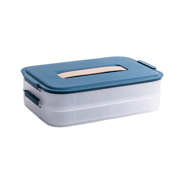 functional container with blue lid and silicone handle