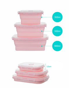 Silicone Collapsible Lunch Box (Set of 3)