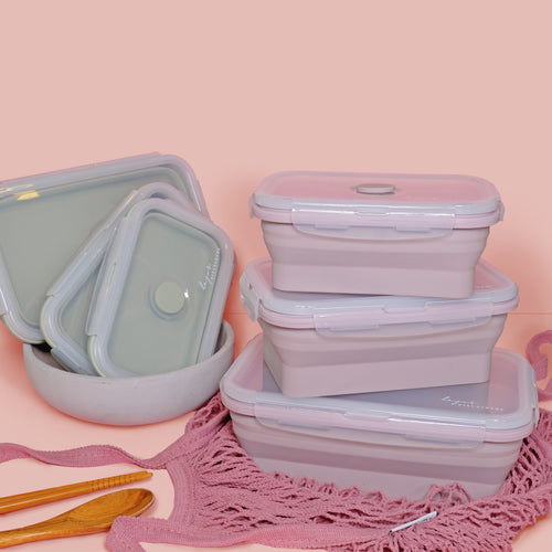 Couple set Lejos Silicone Collapsible Lunch Box