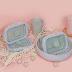 3 pcs Lejos Silicone Collapsible Lunch Box in Dusty Green