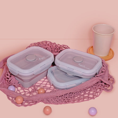 3 pcs Lejos Silicone Collapsible Lunch Box in Dusty Rose