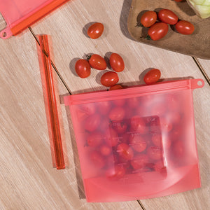 silicone food bag in red