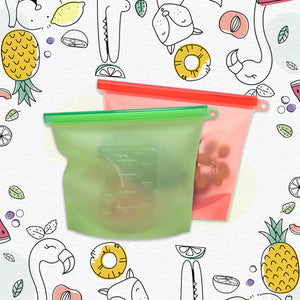 Silicone Food Storage Bag - Starter Set (2 small, 2 big)